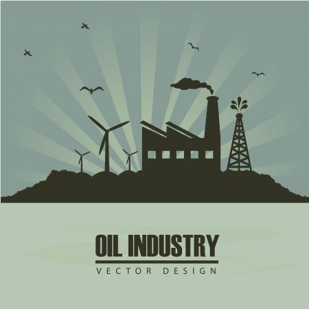 industria petrolera: industria del petr�leo en cerca cielo de fondo ilustraci�n vectorial