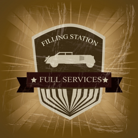 filling station: filling station over vintage background vector illustration