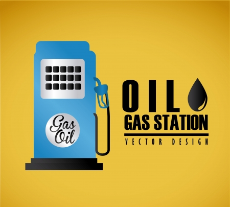 oil gas station  over yellow background vector illustration  Vector