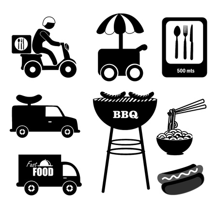 dog eating: food icons over white background vector illustration