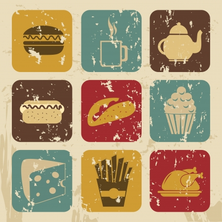 food icons over beige background vector illustration