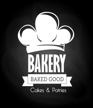 cheff: bakery design over black background vector illustration