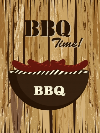 time over: bbq time over wooden background vector illustration