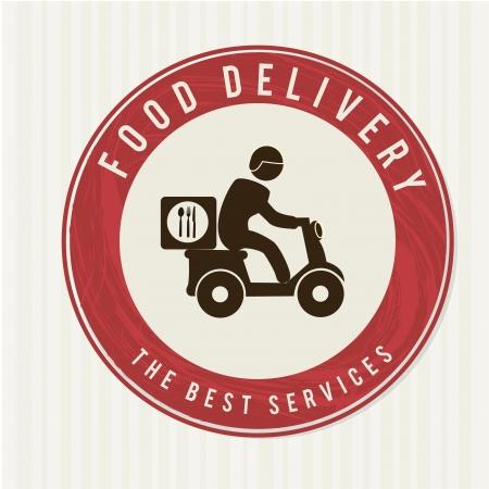 negocios comida: entrega de alimentos sobre fondo blanco ilustraci�n vectorial