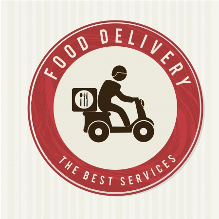 food label: food delivery over white background vector illustration