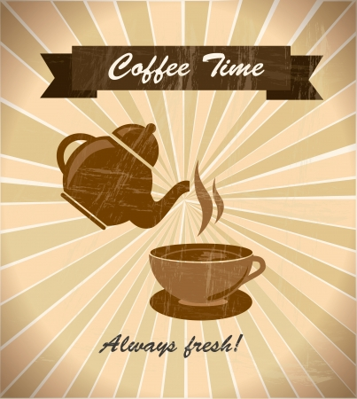 time over: coffee time over grunge background vector illustration