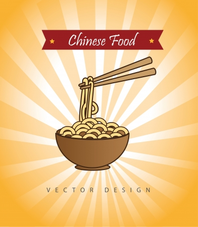 chinese food over yellow background vector illustration  Vector