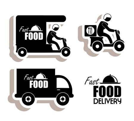 lorries: cibo consegna su sfondo bianco illustrazione vettoriale