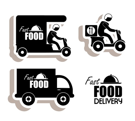 eating fast food: delivery food over white background vector illustration