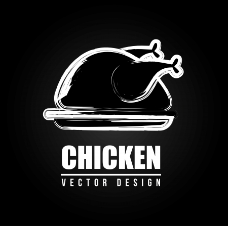 roast chicken: chicken design over black background vector illustration