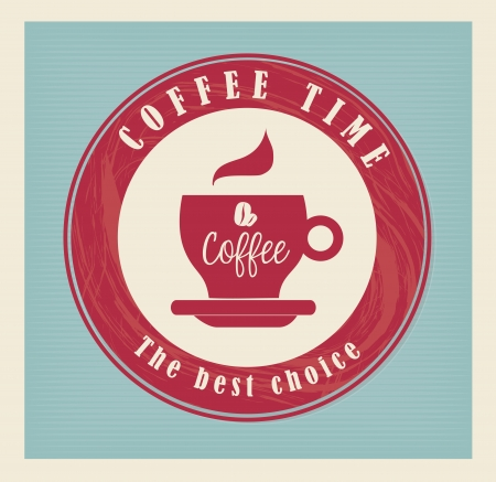 time over: coffee time over blue dotted background vector illustration