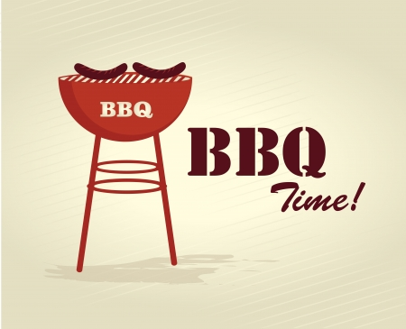 cover background time: bbq time over lineal background vector illustration