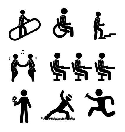 runing: iconos humanos sobre fondo blanco ilustraci�n vectorial