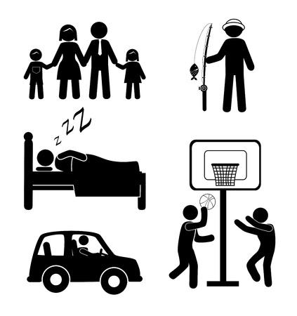 woman sleep: iconos humanos sobre fondo blanco ilustraci�n vectorial
