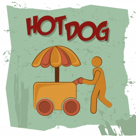 hot dog design over painted background vector illustration  Vector