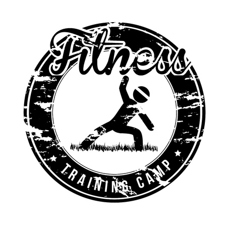 fitness seal over white background vector illustration  Vector