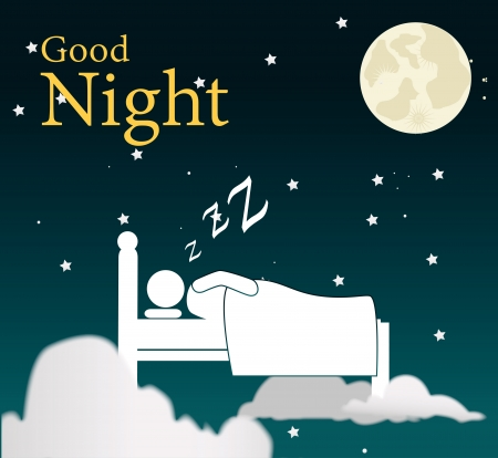 napping: good night design over sky background vector illustration