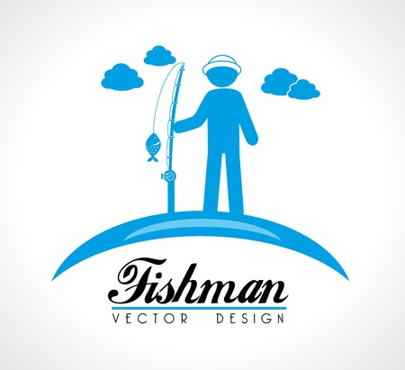 fishman: fishman  design over beige background vector illustration  Illustration