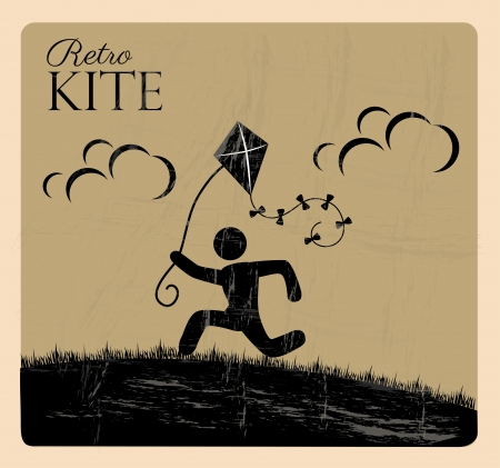 distract: retro kite over beige background vector illustration