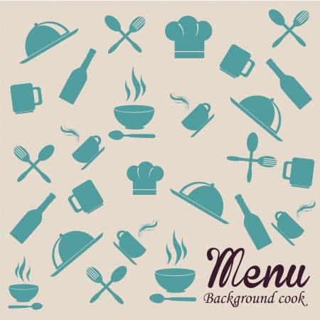 menu pattern over beige background vector illustration  Vector