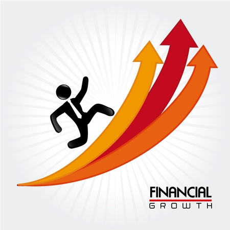 runing: financial growth over lineal background vector illustration