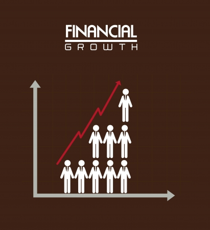 identifiers: financial growth over brown background vector illustration