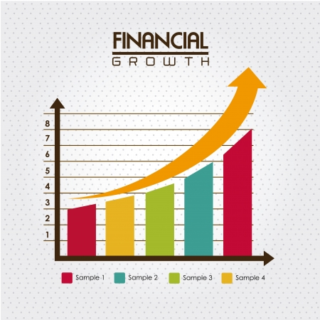 growth chart: financial growth over dotted background vector illustration