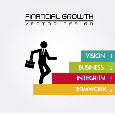 financial growth over white background vector illustration  Vector