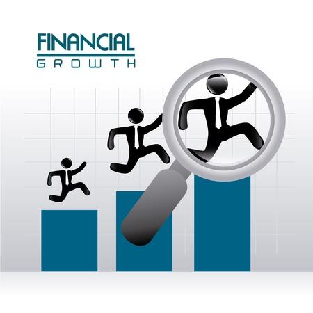 runing: crecimiento financiero sobre fondo gris ilustraci�n vectorial