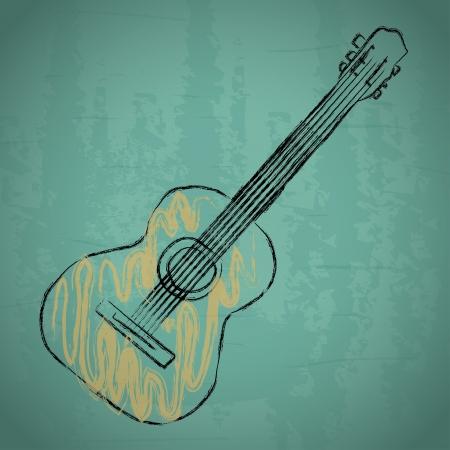 青色の背景ベクトル イラスト アコースティック ギター