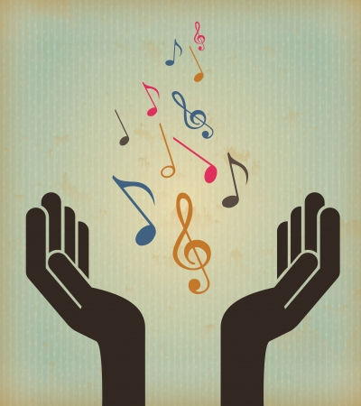 music design over vintage background vector illustration  Vector