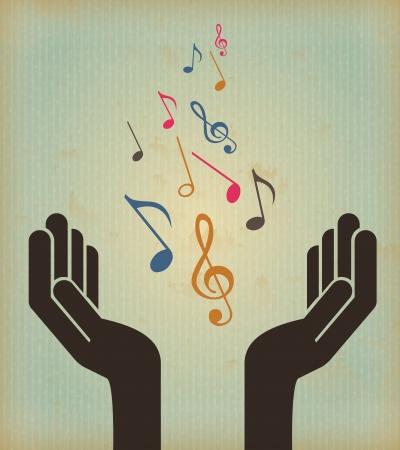 music design over vintage background vector illustration Stock Vector - 21505379