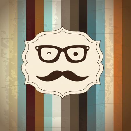 hipsters: hipster design over wooden background vector  illustration  Illustration