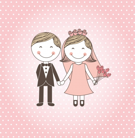 wedding symbol: wedding design over pink background vector illustration    Illustration