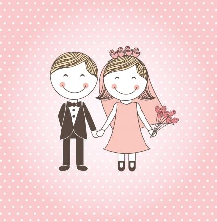 wedding couple silhouette: wedding design over pink background vector illustration    Illustration