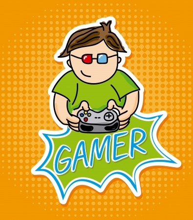 gamer design over orange background vector illustration Stock Vector - 21505589