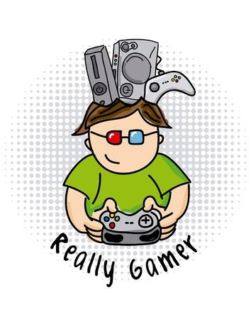 gamer: really gamer  over white background vector illustration