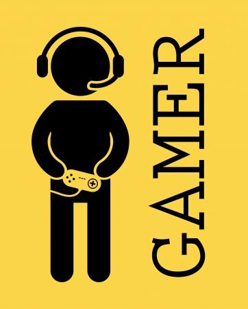黄色の背景ベクトル イラスト上のゲーマーのデザイン