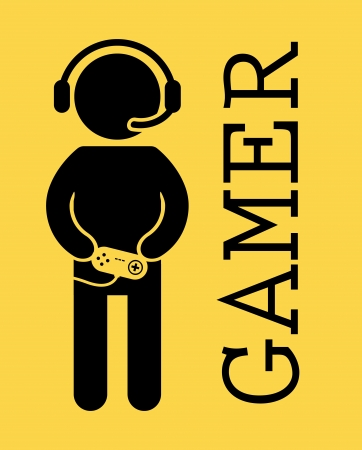 gamer design over yellow background vector illustration