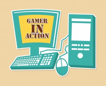 gamer: gamer in action  over pink background vector illustration  Illustration