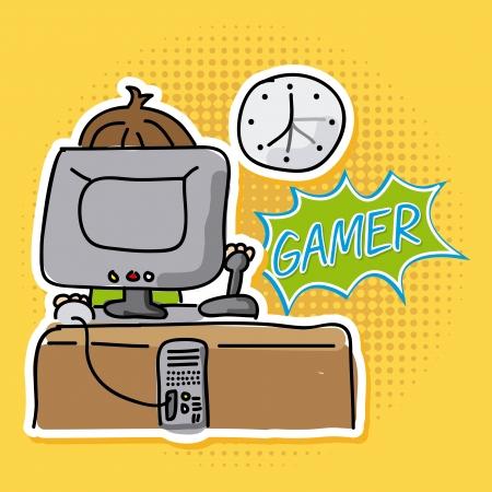 gamer: gamer design over dotted background vector illustration