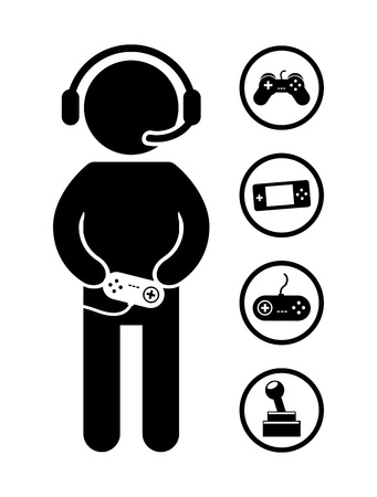 gamer: gamer icons over white background vector illustration Illustration