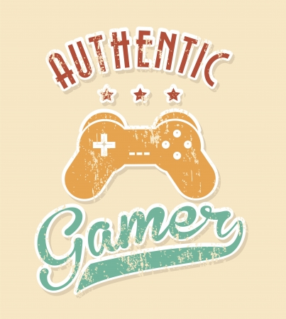 authentic gamer over pink background vector illustration  Stock Vector - 21505646