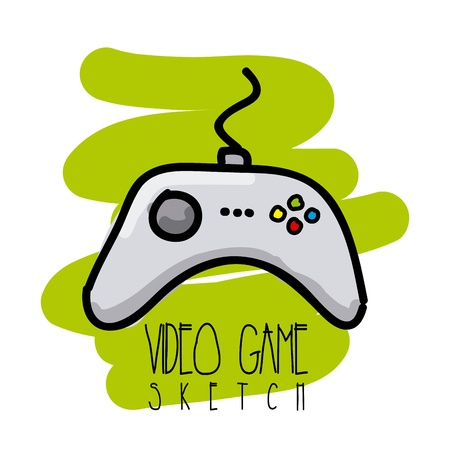 video game sketch over white background vector illustration  Stock Vector - 21505649