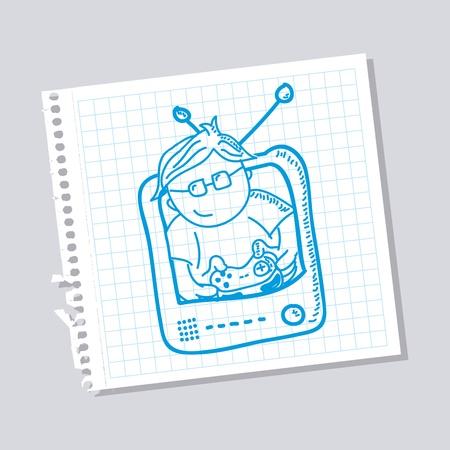 gamer: gamer sketch over gray background vector illustration Illustration