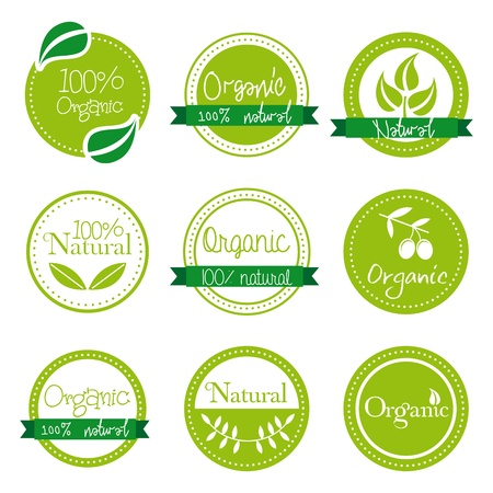 organic labels over white background vector illustration Vector