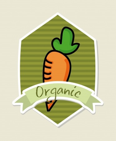 organic label over beige background vector illustration Vector
