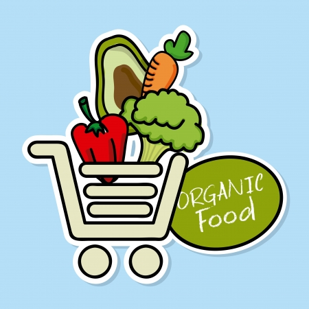 organic food over blue background vector illustration  Stock Vector - 21505711