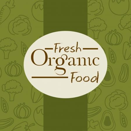 organic peppers sign: fresh organic food over green background vector illustration  Illustration