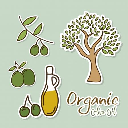olive oil over blue background vector illustration    Vector